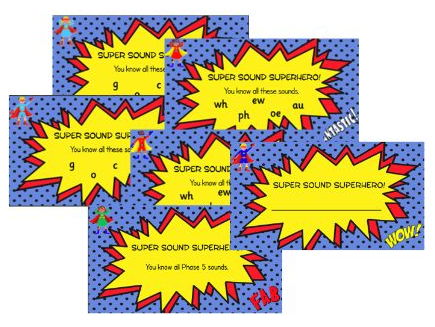 Superhero Comic Phonics Certificates (Letters and Sounds groupings - long f, looped k font)