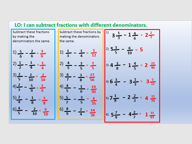 Subtracting fractions year 6/5