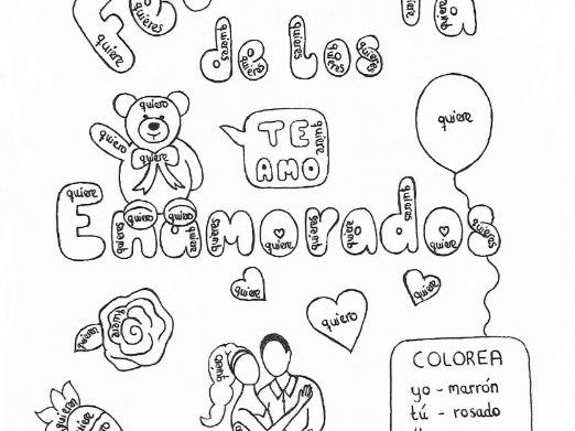 Color by conjugation QUERER Spanish Valentine's Day no prep practice