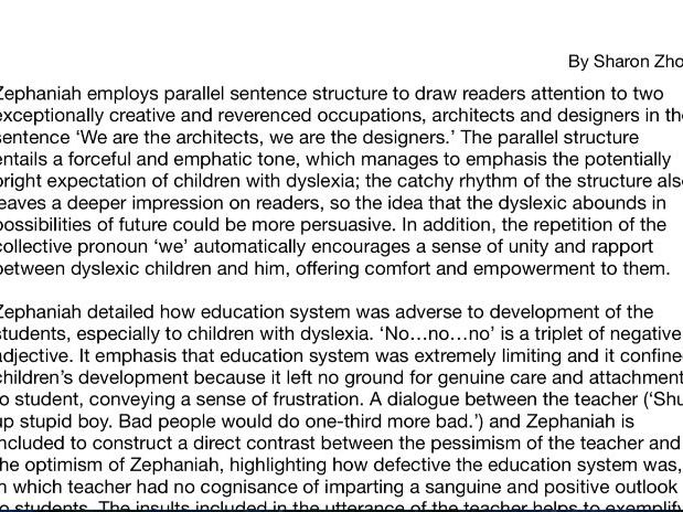 Analysis essay of Young and Dyslexic? by Benjamin Zephaniah (Edexcel IGCSE Language A Anthology)