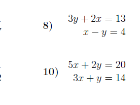 Simultaneous Equations – Substitution worksheet (with solutions)