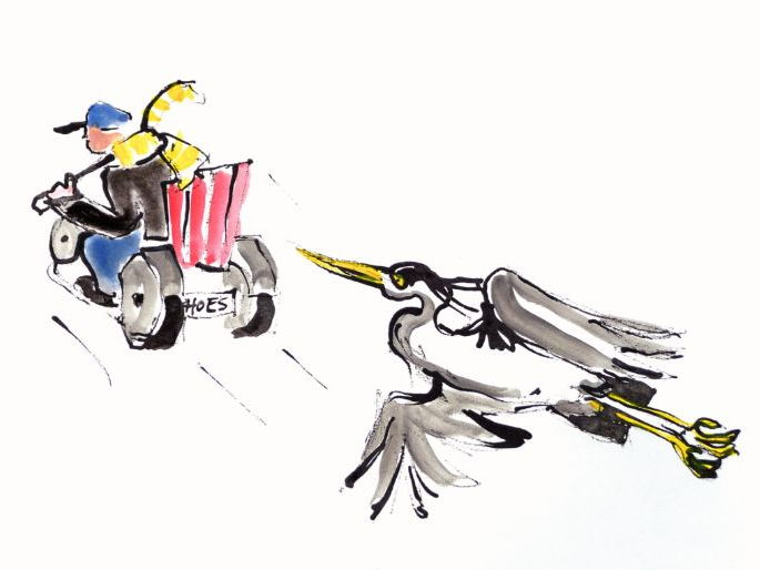 picture: Heron Jessy follows Noiseman in his electric scoot-mobile - by artist Wendy Tjalma