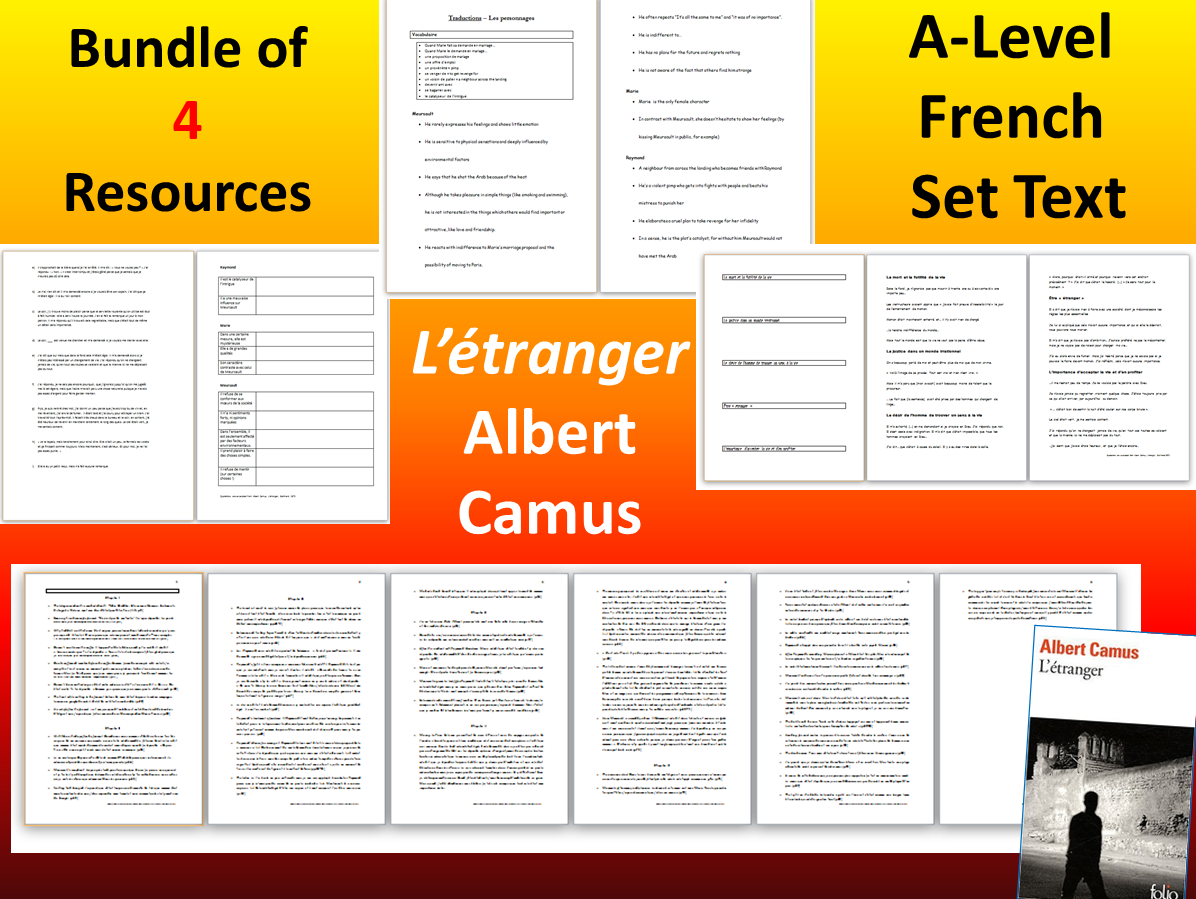 A-Level French Literature - L'ETRANGER  (4 resources)