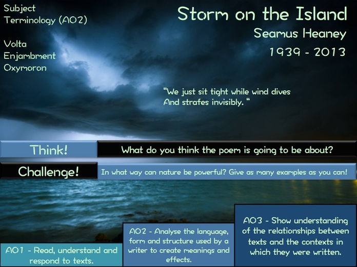 Storm on the Island - Seamus Heaney -  Poetry Revision - Power and Conflict