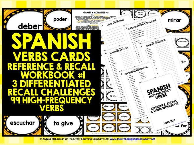 SPANISH VERBS CARDS & WORKBOOK 1
