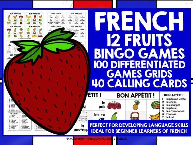 PRIMARY FRENCH FRUITS BINGO