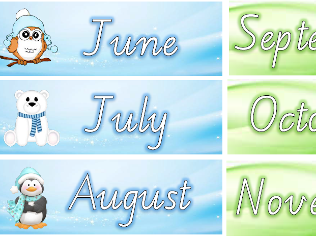 Australian Months of the Year in Seasonal colours