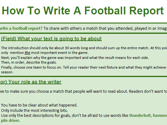 Genre Booklet: How To Write About Football: A Match Report