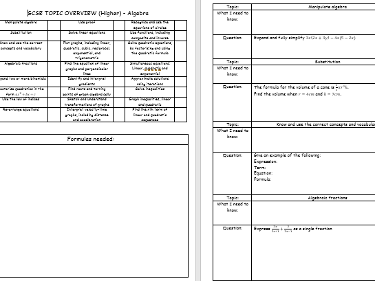 GCSE 1-9 HIGHER Topic revision booklets