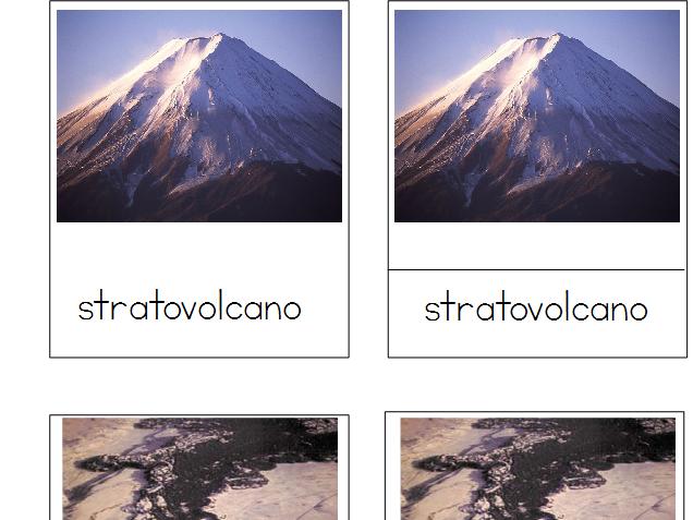 Volcanoes - Montessori 3-Part Cards