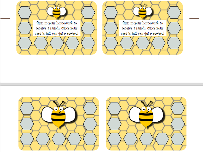 Bee Theme Homework Punch Cards