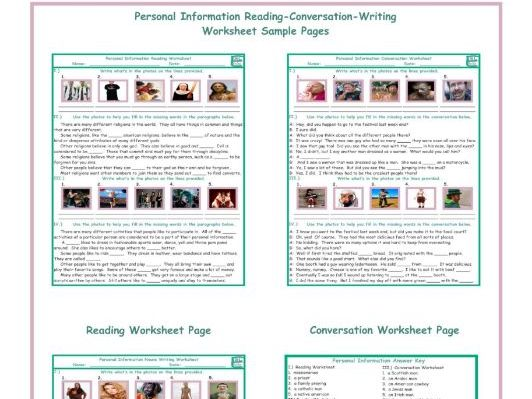 Personal information reading conversation writing worksheets by cover image ibookread ePUb