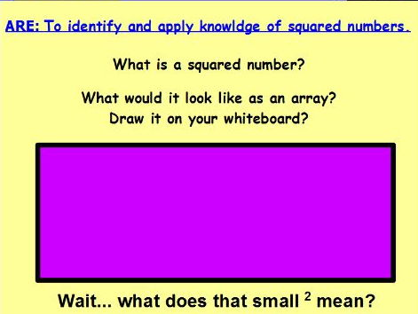 Sqaured Numbers Lesson Pack with differentiated questions