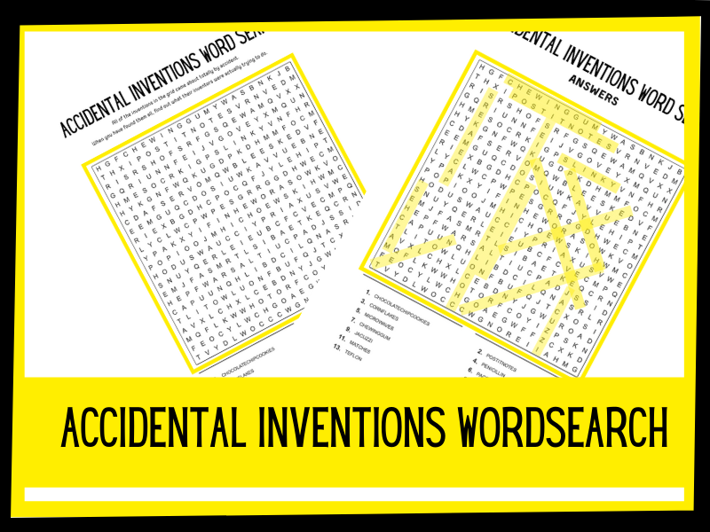 Accidental Inventions wordsearch   KS1 KS2