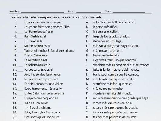 Superlative Adjectives Sentence Match Spanish Worksheet