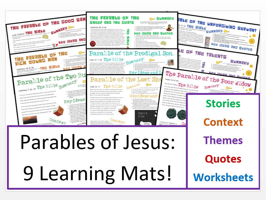 Parables of Jesus: 9 Learning Mats and Activity Sheets!