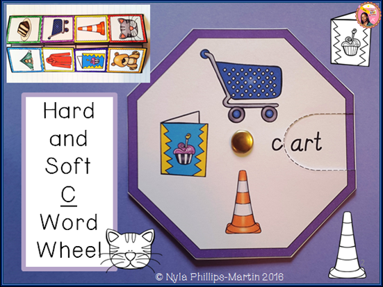 Phonics Word Wheel for Hard and Soft C Sound with Foldable Worksheets