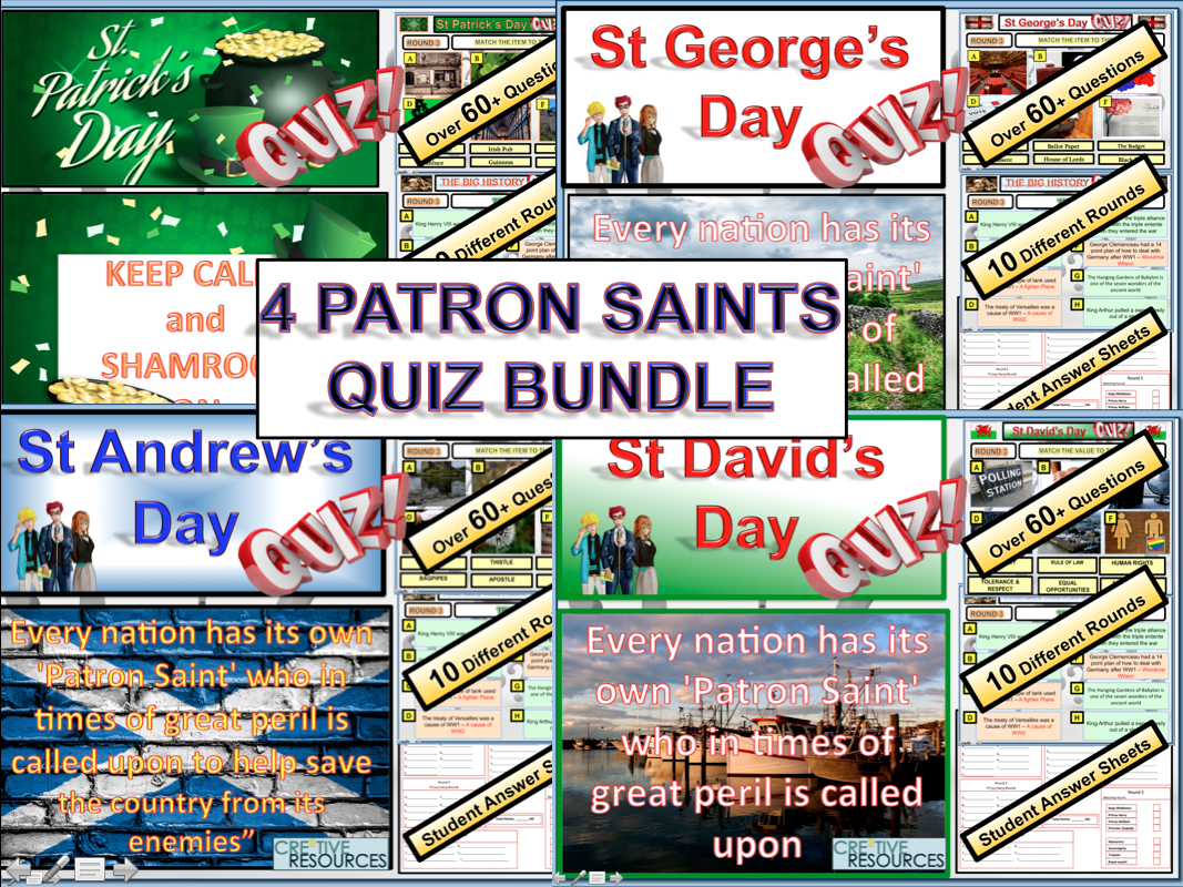 The Patron Saints Quiz Bundle (St Andrew, St David, St George & St Patrick)