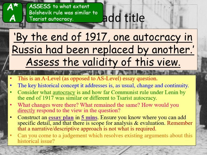 AQA A-Level Tsarist & Communist Russia Lesson 47 (Bolshevik Consolidation)