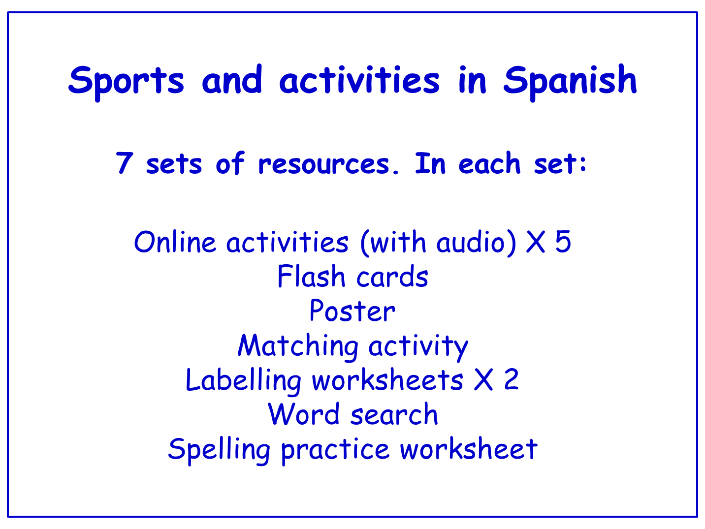 Sports in Spanish  Worksheets, Games, Activities and Flash Cards (with audio) Bundle (7 sets)