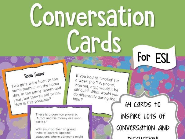 ESL Conversation and Discussion Cards