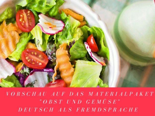Obst und Gemüse - Wortschatz Deutsch, DAF, German, Vocabulary flash cards, presentation+activities