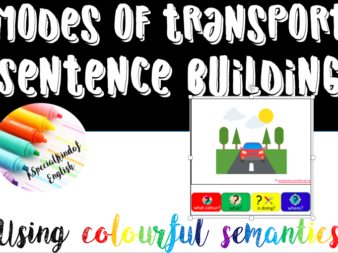 Modes of transport sentence building using colourful semantics