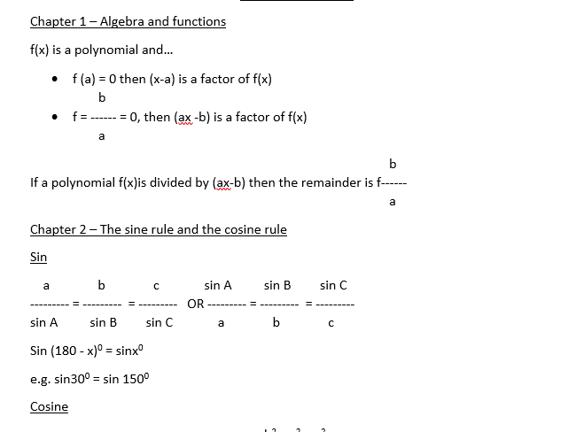 A-Level Maths C2 - Equations Bank