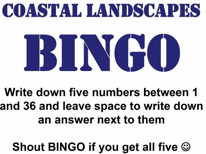 Bingo Revision Activity for Edexcel 2016 AS/A Level Geography Topic 2B (Coastal Landscapes & Change)