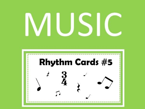 Music Rhythm Cards #5 with Audio and PowerPoint Quiz in 3/4 Time