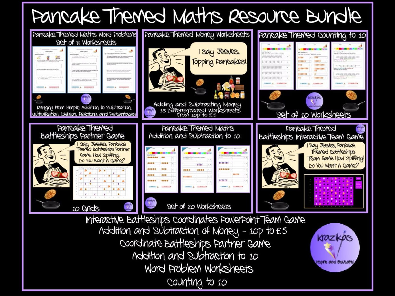 Pancake Themed Maths Resource Bundle - Coordinates, Money, Word problems, Counting to 10, Addition and Subtraction to 10
