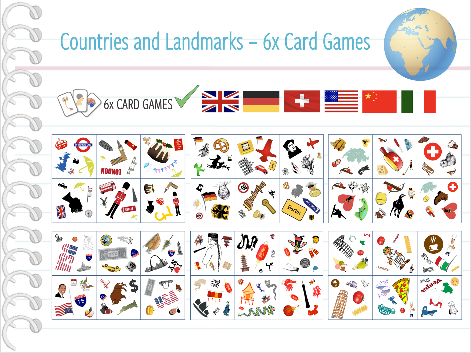 Countries of the World - 6x Card Games