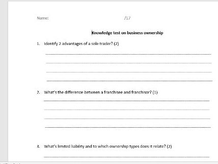 Business ownership - knowledge test