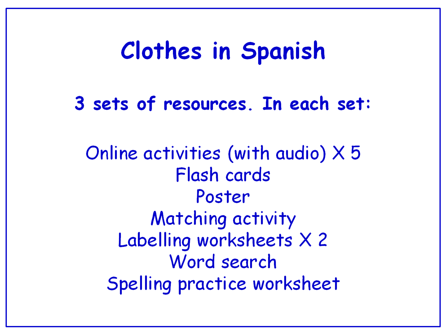 Clothes in Spanish  Worksheets, Games, Activities and Flash Cards (with audio) Bundle (3 sets)