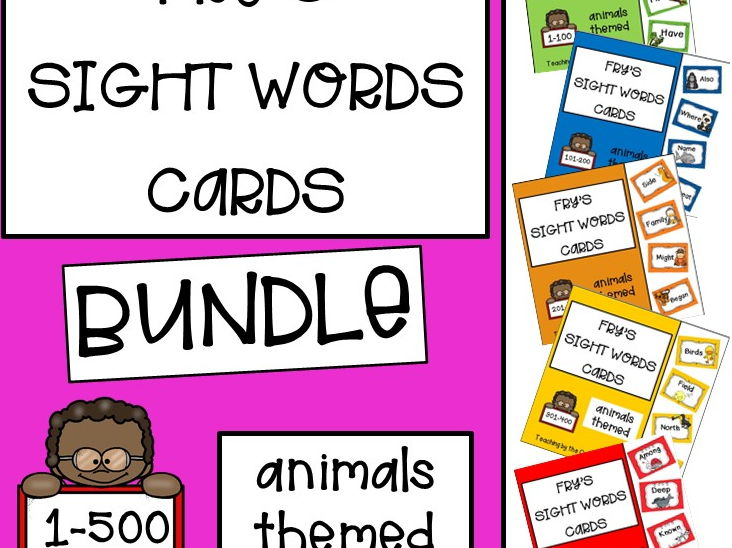 Fry's Sight Words Cards- Animals Themed (1-500)