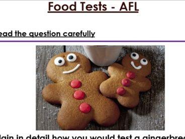 KS3 Food Test 6 mark exam question