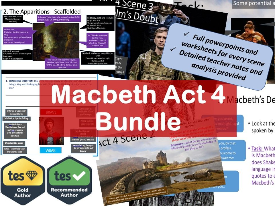 Complete scheme of work for Act 4 of Macbeth. Lessons for every scene. 9-1 GCSE