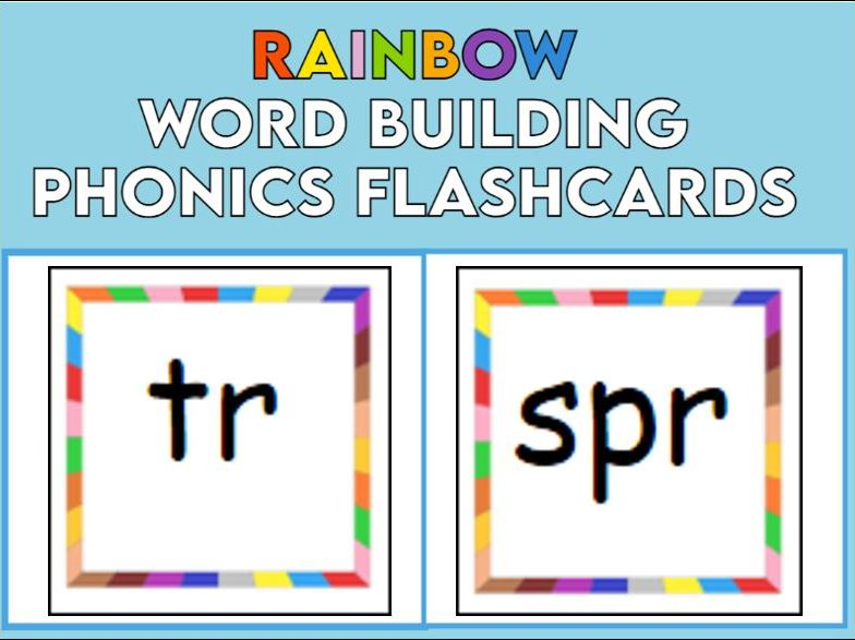 Rainbow Word Building Phonics Flashcards