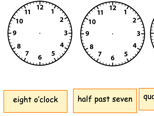 Home learning to tell the time for KS1