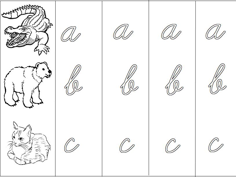Animal Alphabet - Cursive Handwriting Practice