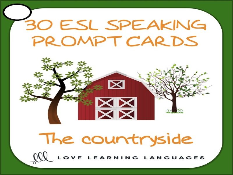 Countryside vocabulary - 30 ESL speaking prompt question cards - American English