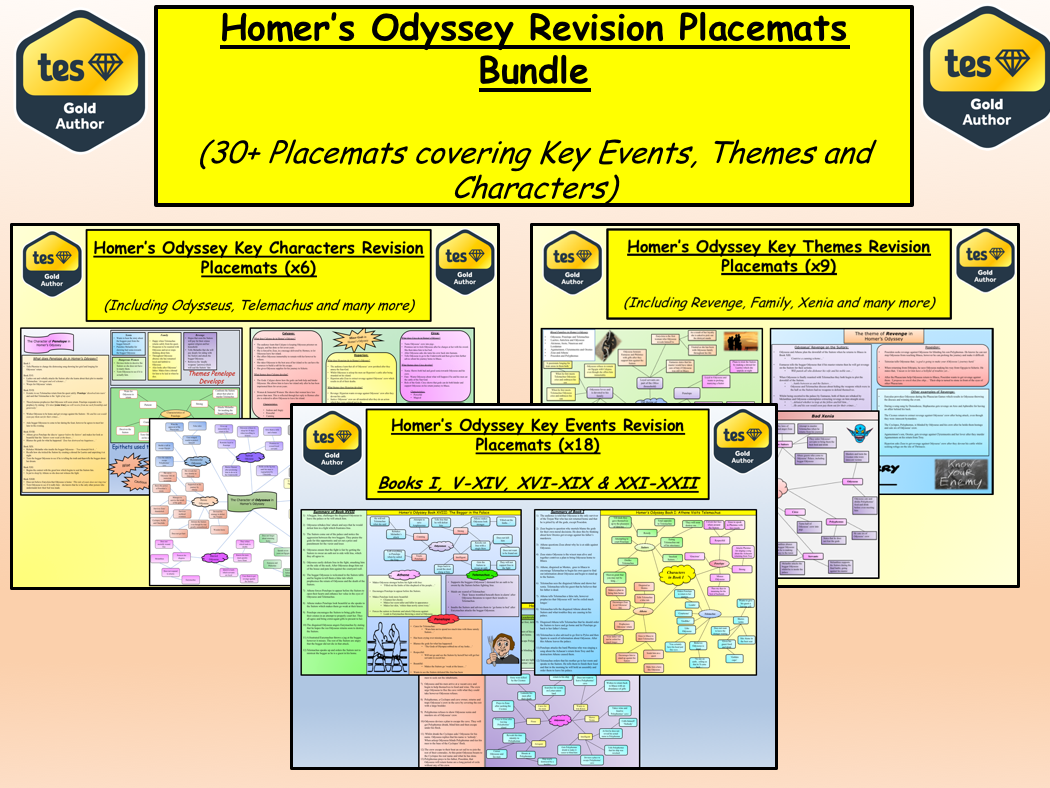 Homer's Odyssey Revision Placemats Bundle (30+ Revision Placemats)