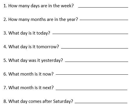 Y1 time resources, days of the week, and months of the year.