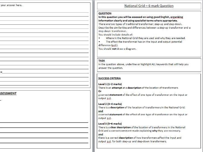 National Grid PASA worksheet / 6 mark Question
