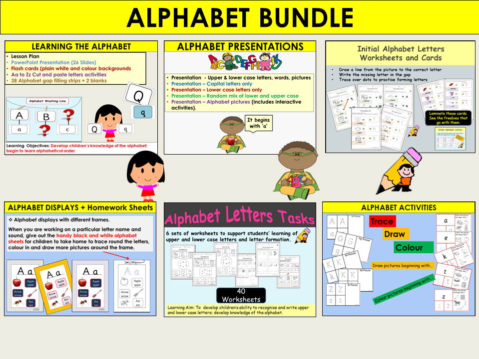 Alphabet: Lesson Plans, Presentations, Worksheets, Activities, Draw/Trace/Colour, Displays Bundle
