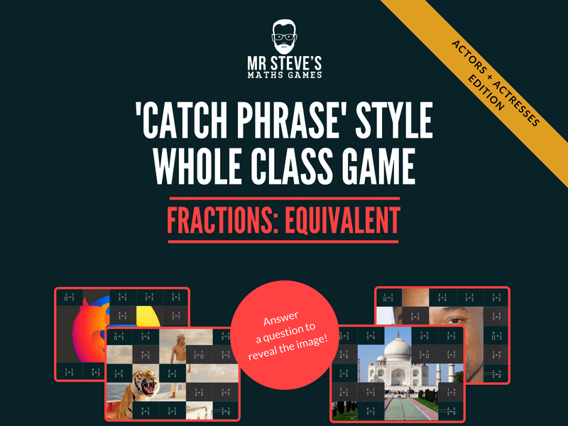 Fractions Whole Class Game All Operations + simplifying:  Actors and Actresses version