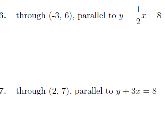Equation of a line through a point and parallel to a given line  worksheet (with solutions)