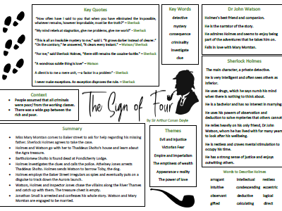The Sign of Four Learning/ Revision Mat