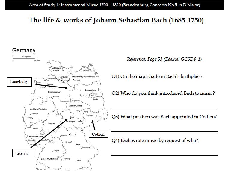 AO1 Brandenburg Concerto No.5 in D Major -Complete Workbook (41 Pages)