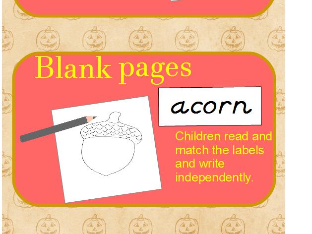 D'Nealian/Italic Handwriting - October Words Booklet